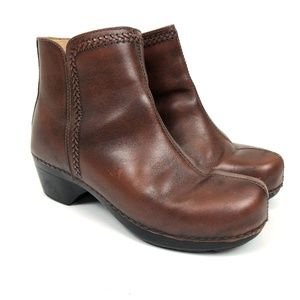 Dansko Ankle Bootie Clogs Leather Brown 40
